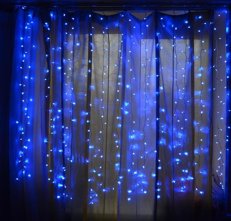 Гирлянда уличная Штора, 120 led, Синяя, 5х0,7м.