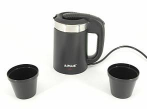 Чайник електричний електрочайник Дорожній A-Plus EK-1519 Чорний 0.5 л, фото 2