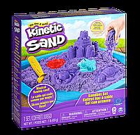 Набор песка для детского творчества - KINETIC SAND ЗАМОК ИЗ ПЕСКА (фиолетовый, 454 г, формочки, лоток)