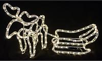 """Фигурка новогодняя для улицы и дома """"Лось с санями"""" из светящейся LED трубки, 86 х 39 см"""