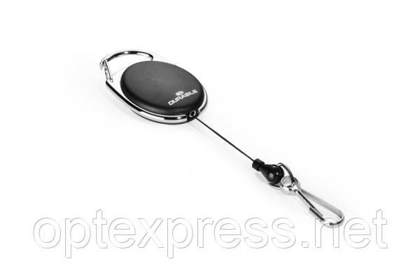 Овальная рулетка 8327 01 черная с карабином  DURABLE