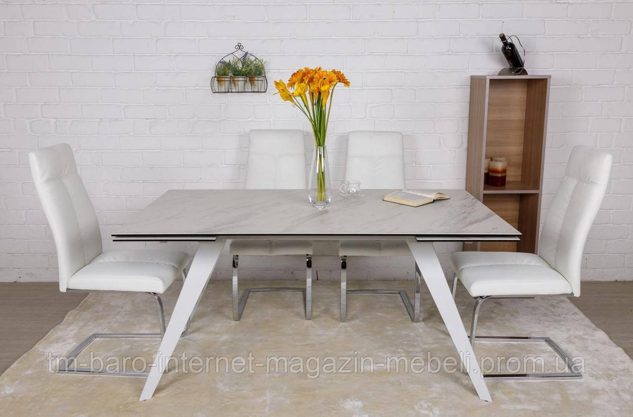 Стол обеденный MOSS (160(+40+40)*90*76 cm керамика) белый, Nicolas