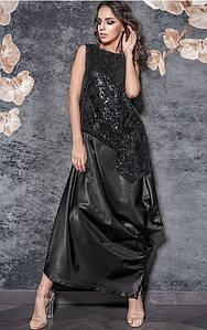 Длинное платье черного цвета из атласа с пайетками Триумф 42-48 р