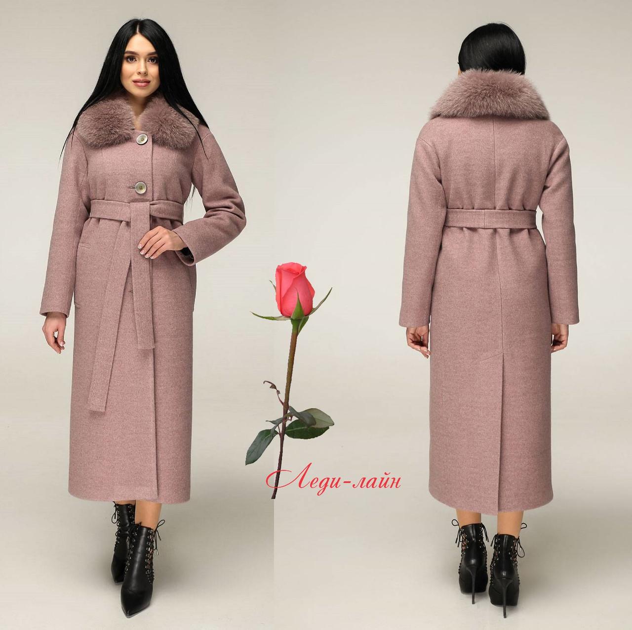 Женское  зимнее пальто из натуральной шерсти