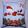 Подушка новогодняя декоративная с Дедом Морозом белая принт