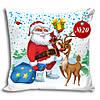 Подушка Новогодняя Санта Клаус олень яркая