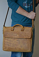 Мужская сумка-портфель из натуральной кожи для документов и ноутбука