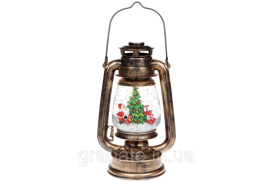 Декоративный фонарь Санта с подарками, с LED подсветкой и летящим глиттером на батарейках (3хАА), 26см