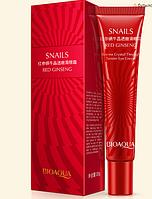 Крем для кожи вокруг глаз с экстрактом улитки и женьшеня увлажняющий BIOAQUA Snails Red Ginseng (20мл)