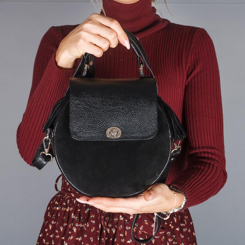 Сумка женская черная из натуральной кожи и замши. Цвет на выбор. Индивидуальный пошив.