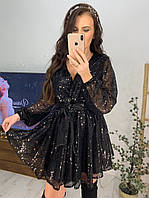 Платье из пайетки с верхом на запах и пышной юбкой 58PL487