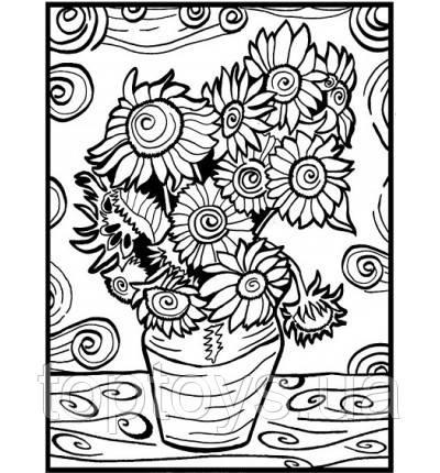 Розмальовка з фломастерами Carioca Van Gogh Sunflowers COLORVELVET (LA0006)
