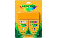 Крейда Crayola біла і кольорова з губкою 24 шт (98268)