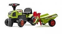 Трактор каталка BABY CLAAS AXOS c прицепом Falk 1012C. Машинка для детей