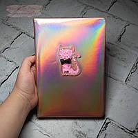 Блокнот хамелеон Кошка, розовый