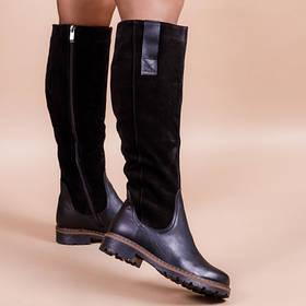 Замшевые сапоги с кожаными деталями Высота до колена размеры 36-41