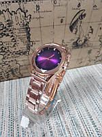 Часы женские на металлическом браслете сиреневый циферблат
