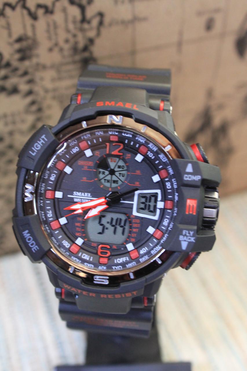Часы мужские Smael черные с красным