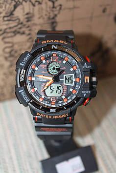 Чоловічі Smael годинники чорні з елементами помаранчевого