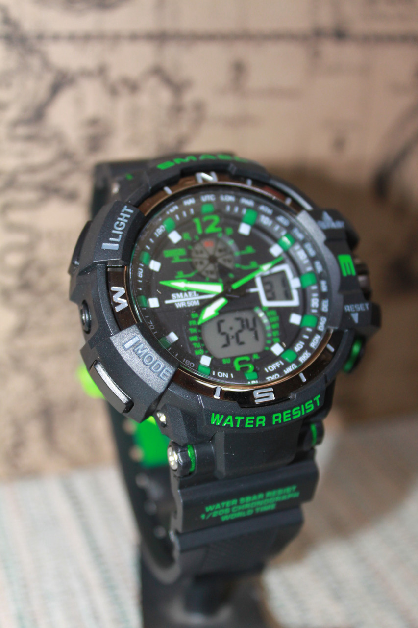 Часы мужские Smael черные с зеленым
