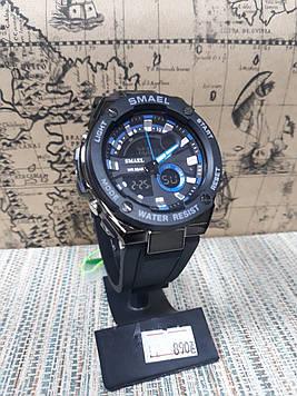 Чоловічі спортивні годинник Smael на каучуковому ремінці чорний корпус