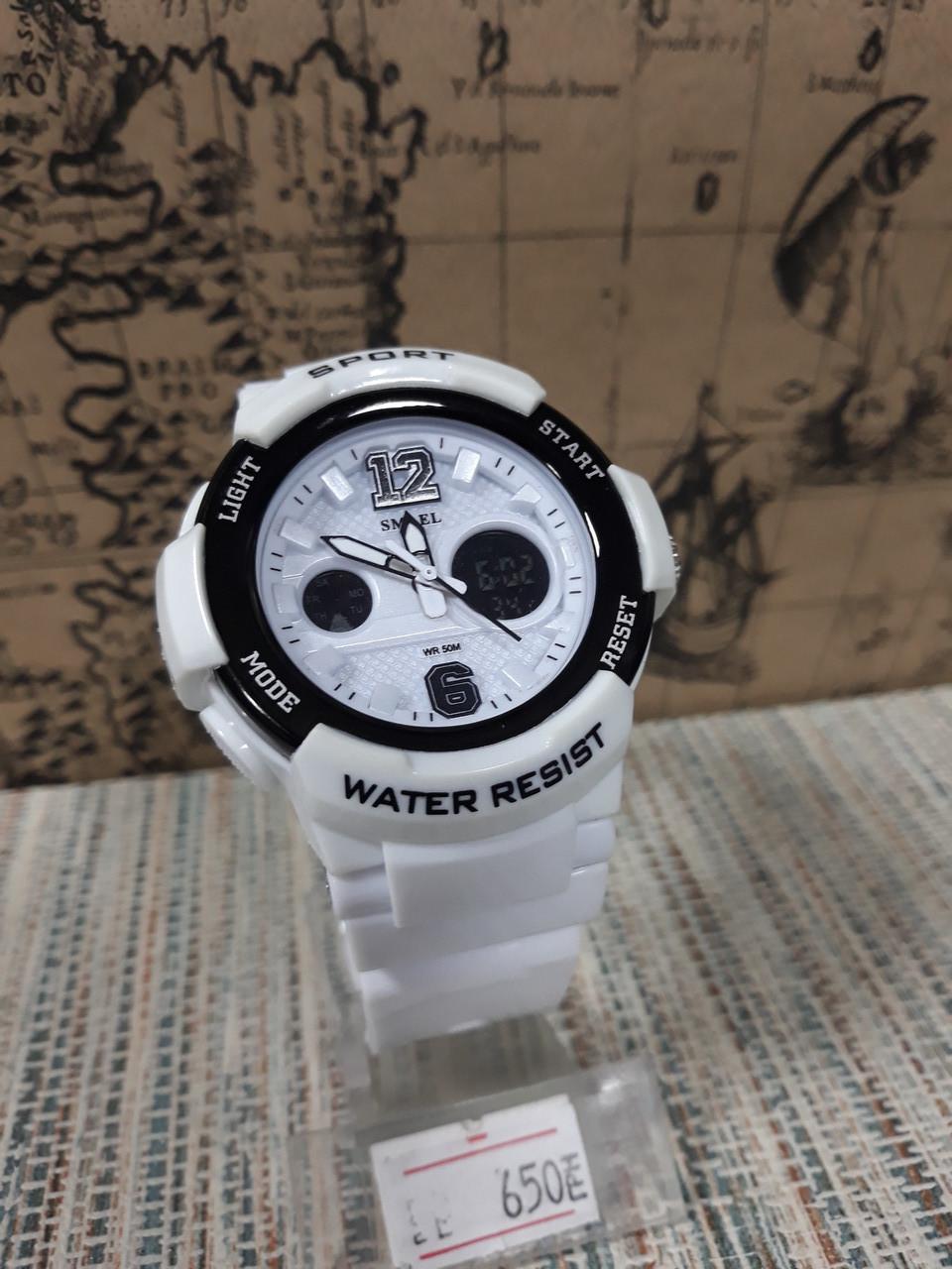 Кварцевые часы  Smael белые с черными вставками