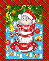 Кухонне вафельний рушник Новий Рік 60х50см, фото 1