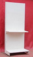 Торговые стеллажи перфорированные «Модерн» 190х95 см. + полка 30 см., (Украина), кремово-белый, Б/у, фото 1