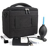 Профессиональная сумка для фотографа  Fottos 26x13x19 см на плечо, компактная, удобная, темно серый, фото 2