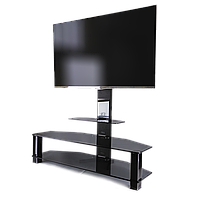 Тумба стеклянная под ТВ с кронштейном Престиж EVR Decor Bl (1250х400х1250)