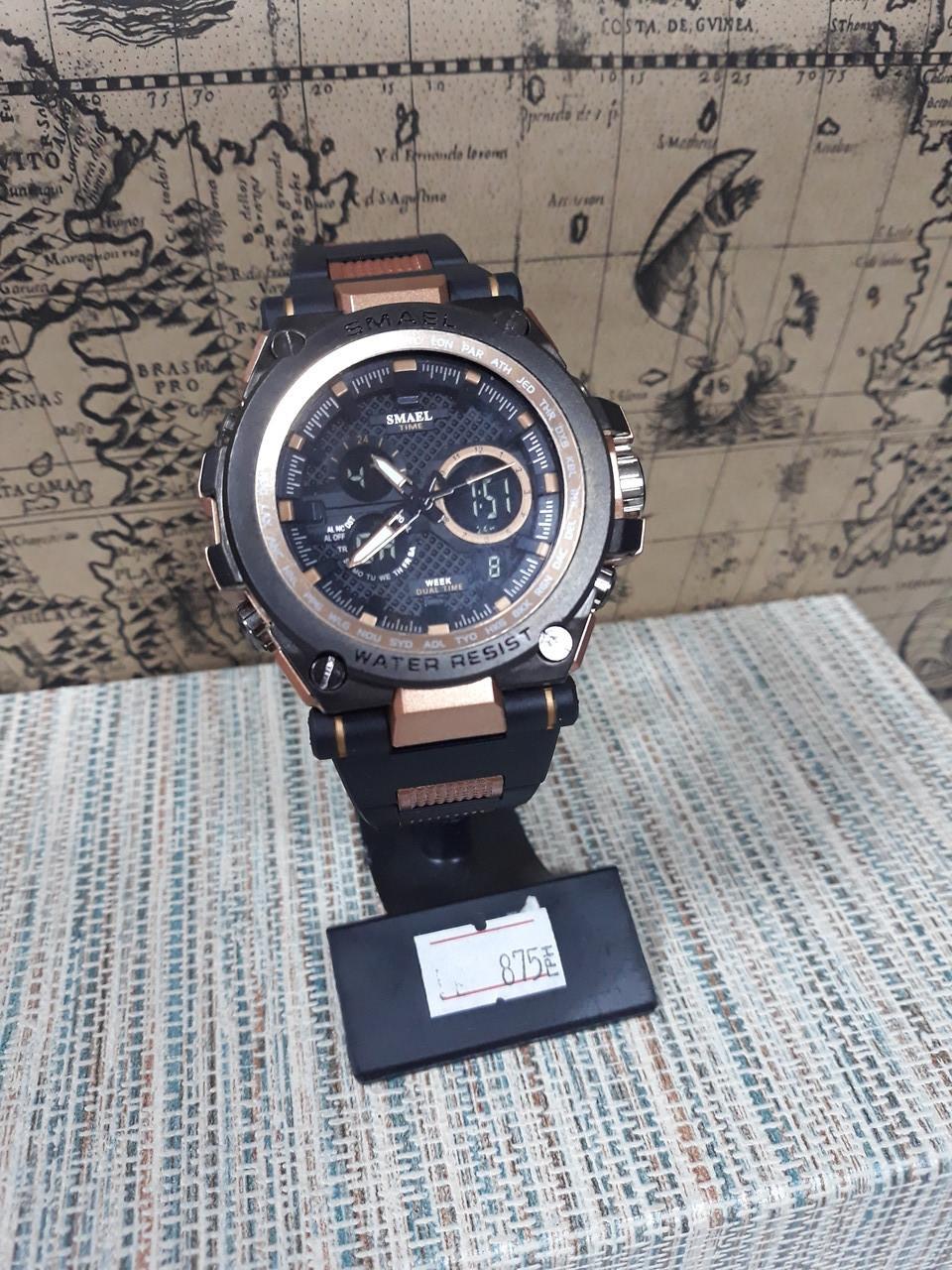 Мужские часы аналог G-Shock черные с вставками розовое золото с подсветкой