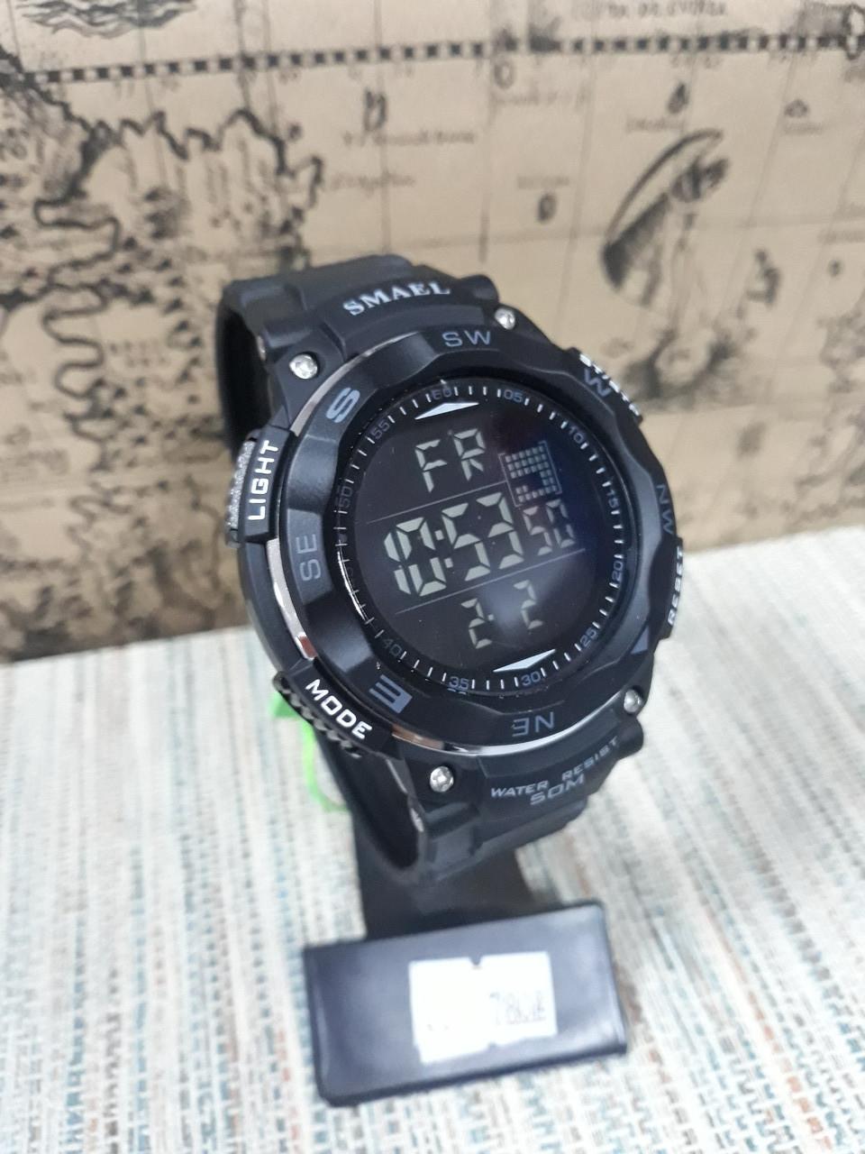 Часы мужские большие Smael черные  с цифровым временем