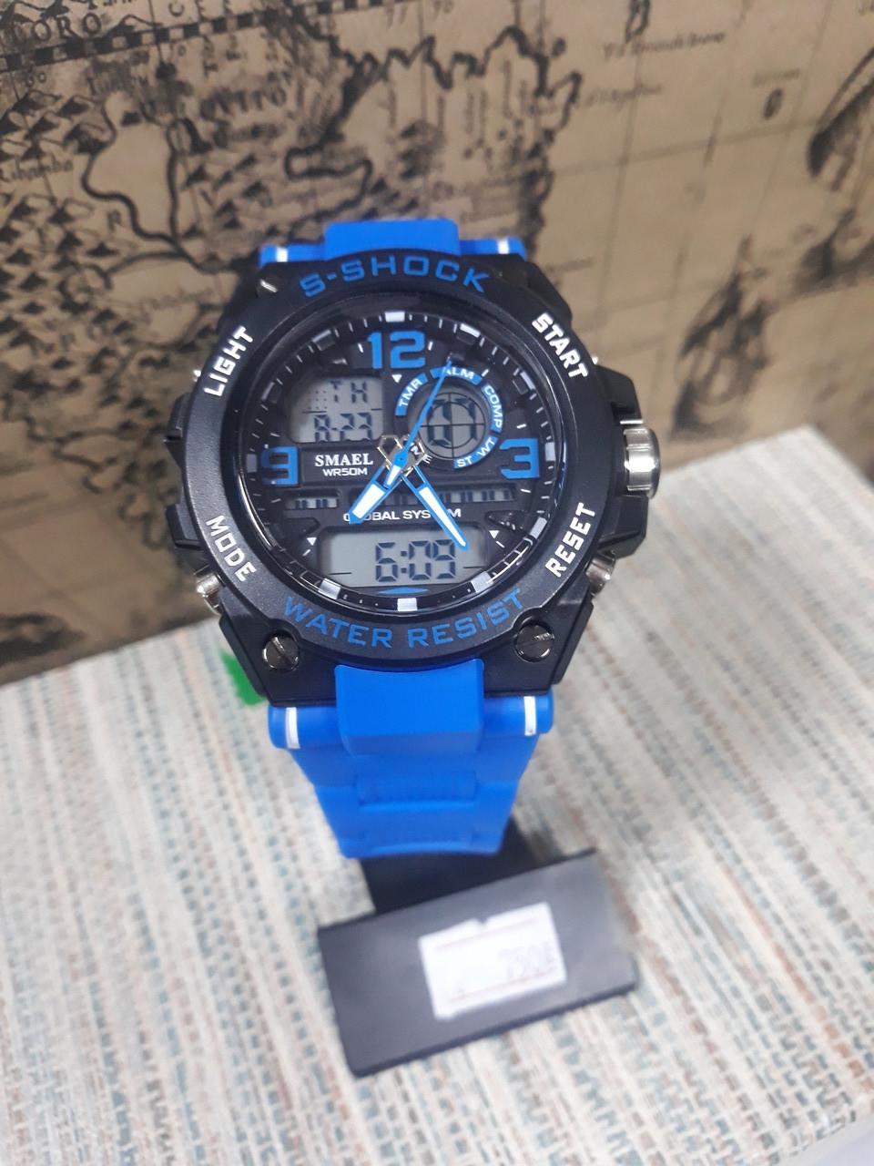 Часы G-Shock  Джи шок мужские Smael черные с синим ремешком