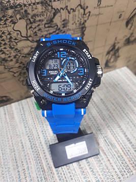 Годинник G-Shock Джі шок чоловічі Smael чорні з синім ремінцем