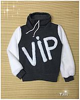 """Свитшот """"VIP"""" теплый с начесом и модным воротником хомут для девочки подростка код 0111/2(р.122-152)"""