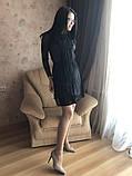 S-M Вечернее платье приталенного кроя с  верхом из сеточки в черном цвете, фото 5