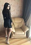 S-M Вечернее платье приталенного кроя с  верхом из сеточки в черном цвете, фото 4