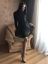 S-M Вечернее платье приталенного кроя с  верхом из сеточки в черном цвете