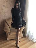 S-M Вечернее платье приталенного кроя с  верхом из сеточки в черном цвете, фото 2