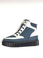 Черевики зимові жіночі шкіряні сині з білим хутро. Ботинки зимние женские кожаные синие с белым мех .