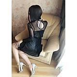 S-M Вечернее платье приталенного кроя с  верхом из сеточки в черном цвете, фото 9