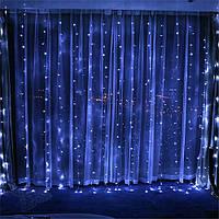 Гирлянда Водопад 2*2м 240LED штора занавес синий новогодняя