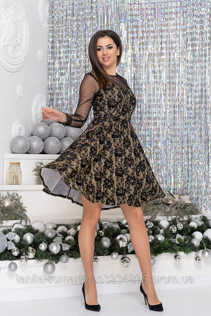 Коктейльное  9217 платье Золотой