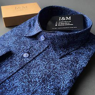 Мужская рубашка I&M Craft синяя с голубым (110110), фото 2