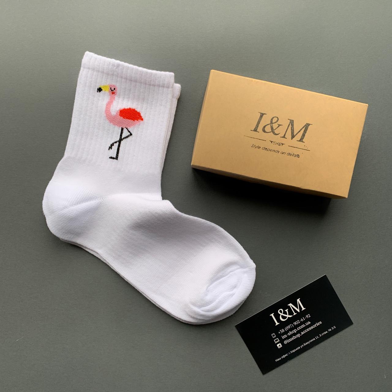 Носки I&M Craft белые с фламинго (0703460)