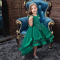 Праздничное стильное зеленое платье для девочки с дорогим кружевом и стразами Ивет