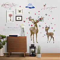 """Виниловые наклейки на стену в детскую комнату, на витрину """"Олень и олененок в цветах"""" 129см*88см(лист 60*90см)"""