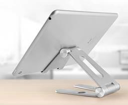 Подставка для телефона и планшета   Holder - V Серебристая складная алюминиевая  настольная, фото 2