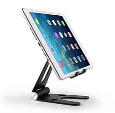 Подставка для телефона и планшета  Holder -V Чёрная складная алюминиевая  настольная, фото 3