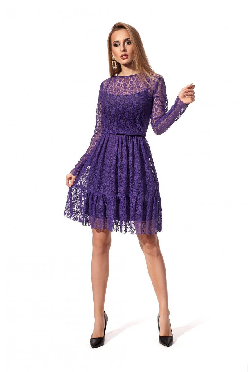 Кружевное нарядное романтическое платье на праздники 42-48